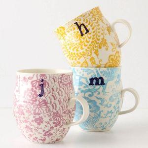 """Anthropologie Homegrown """"P"""" monogram mug"""